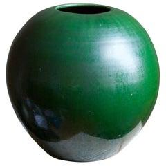 Herman Kähler, Large Vase, Green Glazed Stoneware, Denmark, C. 1900