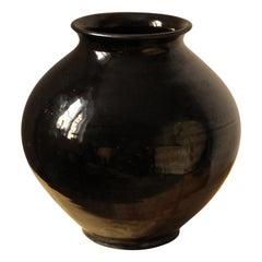 Herman Kähler, Sizable Vase, Black Glazed Stoneware, Denmark, C. 1900