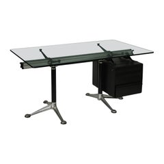 Herman Miller Bruce Burdick Desk Aluminium Metal Glass, 1970s-1980s