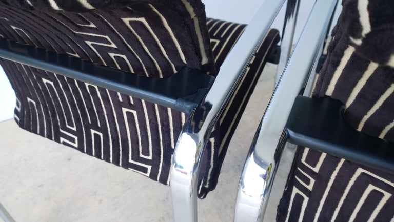 Herman Miller Chrome, Black Rubber with Brown & Tan Burnt, Out Velvet Armchairs For Sale 6