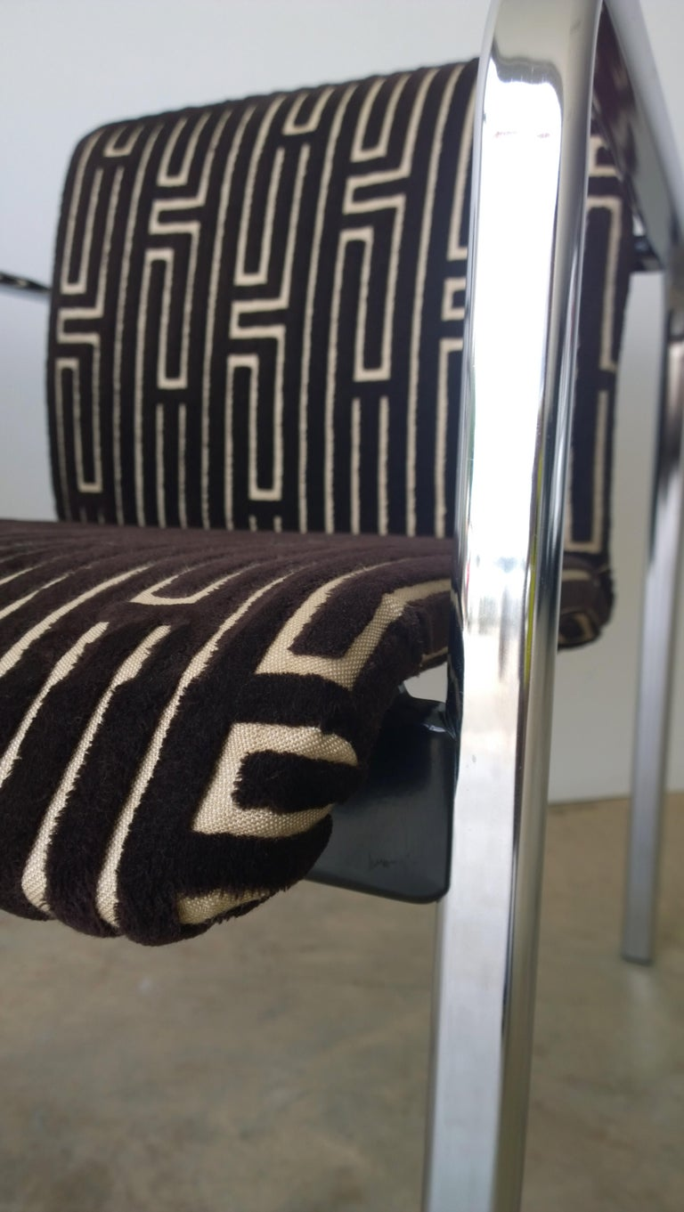 Herman Miller Chrome, Black Rubber with Brown & Tan Burnt, Out Velvet Armchairs For Sale 7