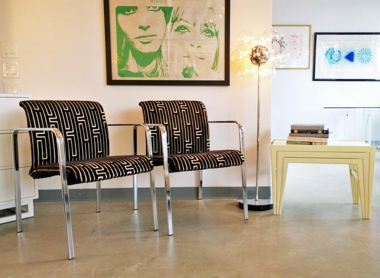 Herman Miller Chrome, Black Rubber with Brown & Tan Burnt, Out Velvet Armchairs For Sale 12