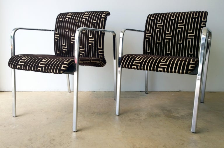 Mid-Century Modern Herman Miller Chrome, Black Rubber with Brown & Tan Burnt, Out Velvet Armchairs For Sale