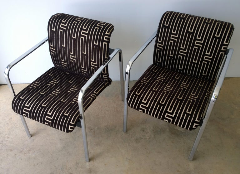 American Herman Miller Chrome, Black Rubber with Brown & Tan Burnt, Out Velvet Armchairs For Sale