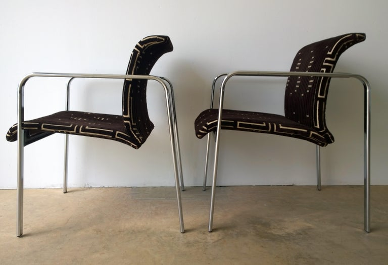Plated Herman Miller Chrome, Black Rubber with Brown & Tan Burnt, Out Velvet Armchairs For Sale