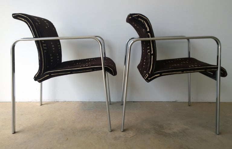 Herman Miller Chrome, Black Rubber with Brown & Tan Burnt, Out Velvet Armchairs In Good Condition For Sale In Houston, TX