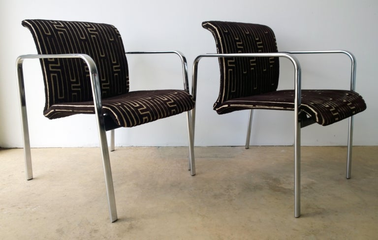 20th Century Herman Miller Chrome, Black Rubber with Brown & Tan Burnt, Out Velvet Armchairs For Sale