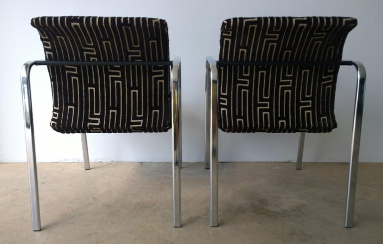 Fabric Herman Miller Chrome, Black Rubber with Brown & Tan Burnt, Out Velvet Armchairs For Sale