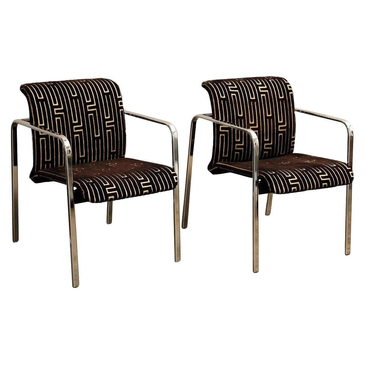 Herman Miller Chrome, Black Rubber with Brown & Tan Burnt, Out Velvet Armchairs