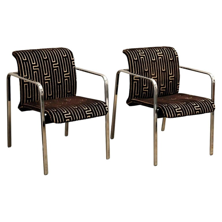 Herman Miller Chrome, Black Rubber with Brown & Tan Burnt, Out Velvet Armchairs For Sale