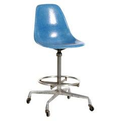 Herman Miller Eames Adjustable Drafting Stool Chair on Casters in Medium Blue