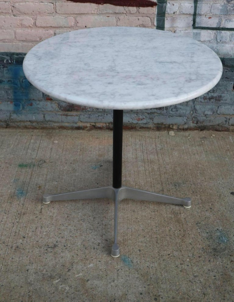 Mid-Century Modern Herman Miller Eames Aluminum Dining Table Base with Custom Carrara Marble Top For Sale