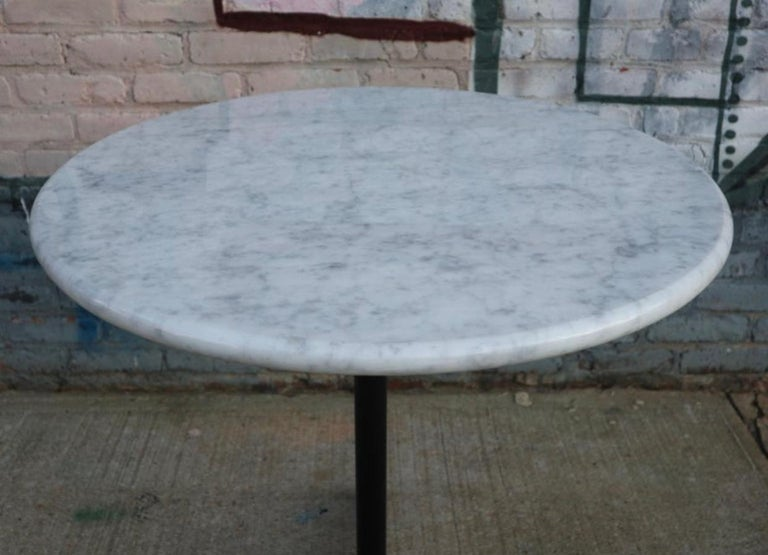 American Herman Miller Eames Aluminum Dining Table Base with Custom Carrara Marble Top For Sale