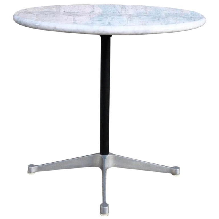 Herman Miller Eames Aluminum Dining Table Base with Custom Carrara Marble Top For Sale