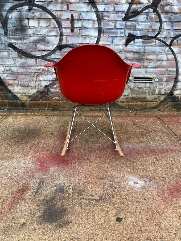 20th Century Herman Miller Eames Cherry Red RAR Rocker For Sale