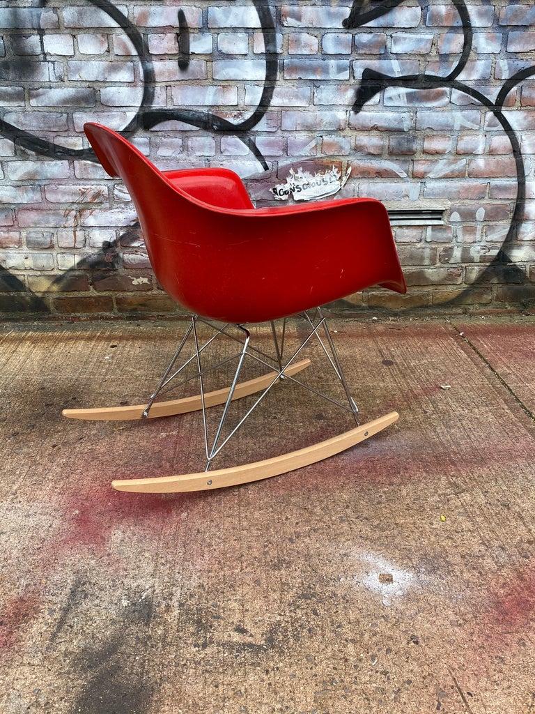 Fiberglass Herman Miller Eames Cherry Red RAR Rocker For Sale