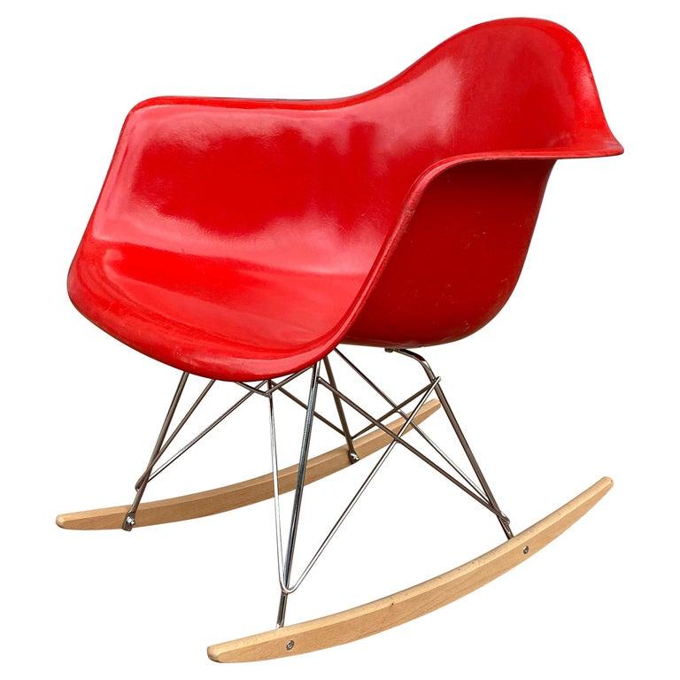 Herman Miller Eames Cherry Red RAR Rocker For Sale