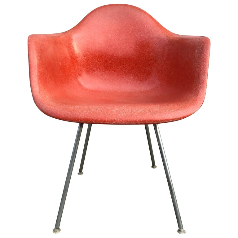 Herman Miller Eames Dax Armchair In Red For Sale At 1stdibs