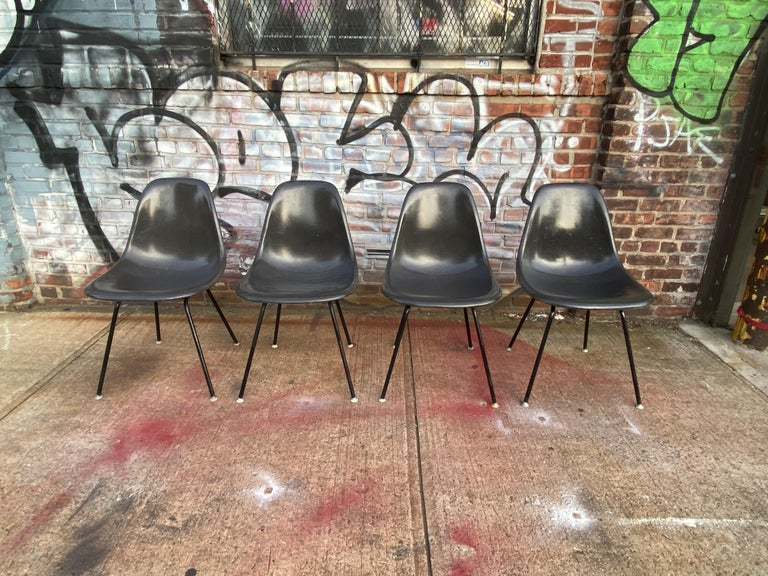 Mid-Century Modern Herman Miller Eames Dining Chair Set in Rare Black on Black For Sale