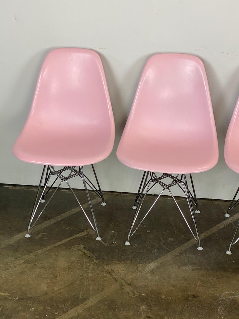 North American Herman Miller Eames Dining Chairs in Pink For Sale