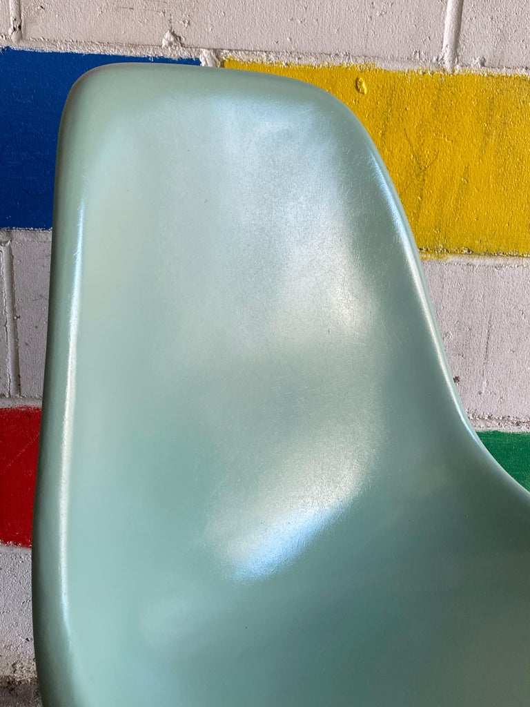American Herman Miller Eames Dining Chairs in Seafoam Green For Sale