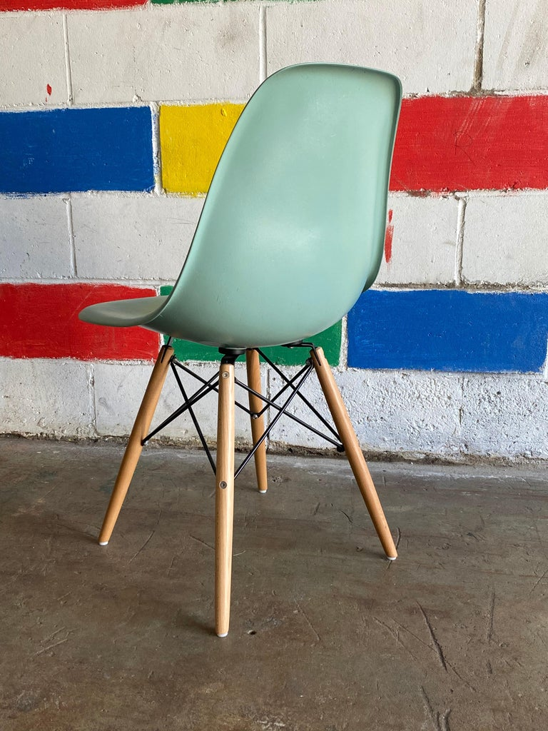 Fiberglass Herman Miller Eames Dining Chairs in Seafoam Green For Sale