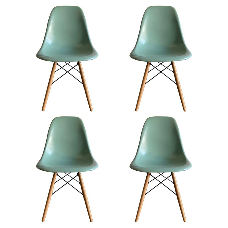 Herman Miller Eames Dining Chairs in Seafoam Green For Sale