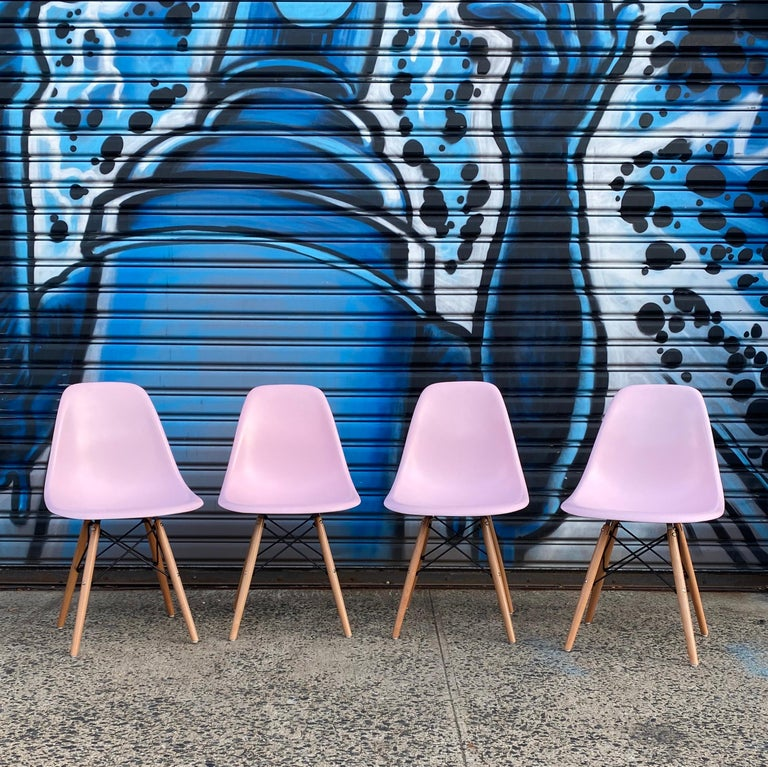 Mid-Century Modern Herman Miller Eames Dining Chairs Redone in Pink For Sale