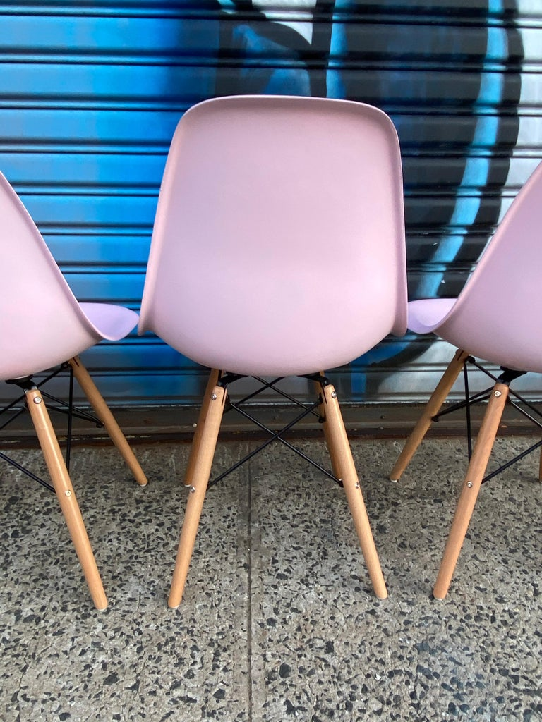 Fiberglass Herman Miller Eames Dining Chairs Redone in Pink For Sale