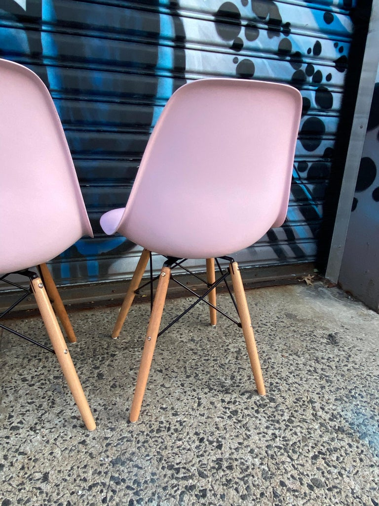 Herman Miller Eames Dining Chairs Redone in Pink For Sale 1