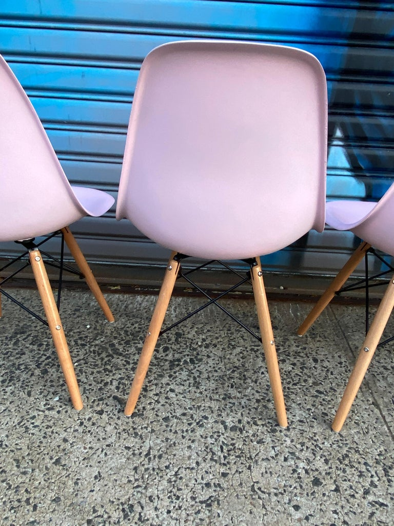 Herman Miller Eames Dining Chairs Redone in Pink For Sale 2