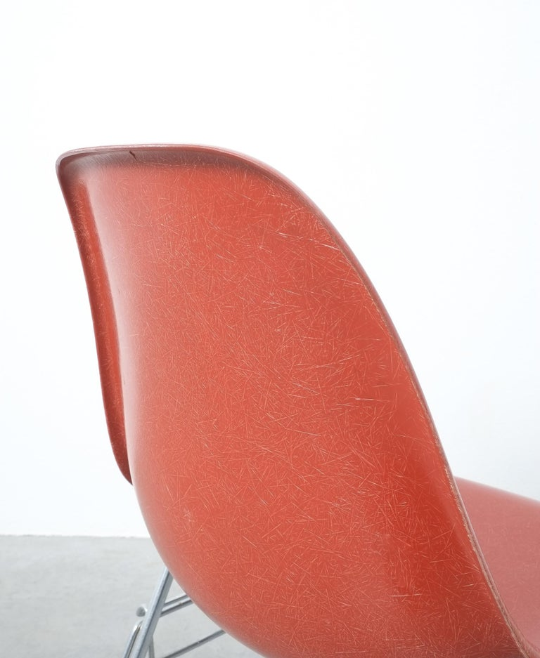 Dyed Herman Miller Eames Dining Chairs Terracotta, circa 1970 For Sale