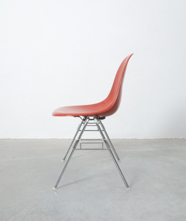 Stainless Steel Herman Miller Eames Dining Chairs Terracotta, circa 1970 For Sale