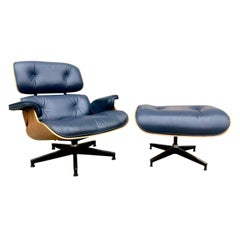 Herman Miller Eames Lounge Chair and Ottoman in Custom Blue Leather