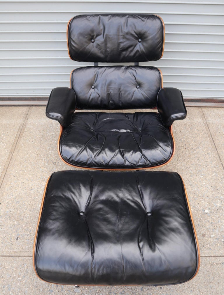 Leather Herman Miller Eames Lounge Chair and Ottoman in Rosewood
