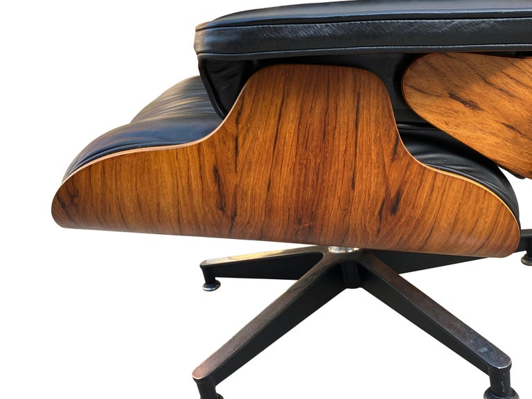 Herman Miller Eames Lounge Chair and Ottoman with Black Leather For Sale 27