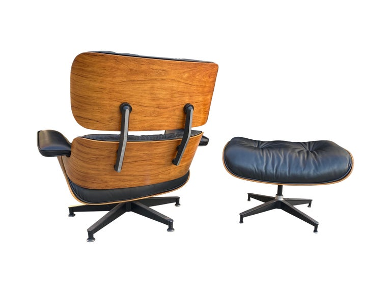 20th Century Herman Miller Eames Lounge Chair and Ottoman with Black Leather For Sale