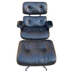 Herman Miller Eames Lounge Chair and Ottoman with Black Leather