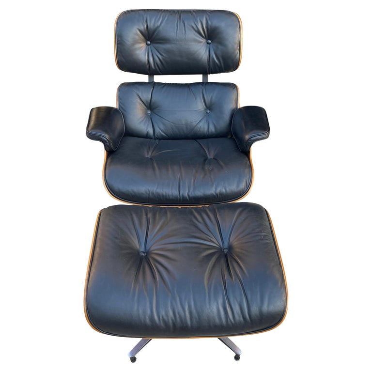 Herman Miller Eames Lounge Chair and Ottoman with Black Leather For Sale