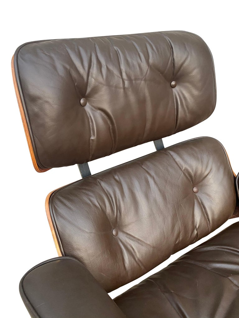 Herman Miller Eames Lounge Chair and Ottoman with Brown Leather For Sale 5