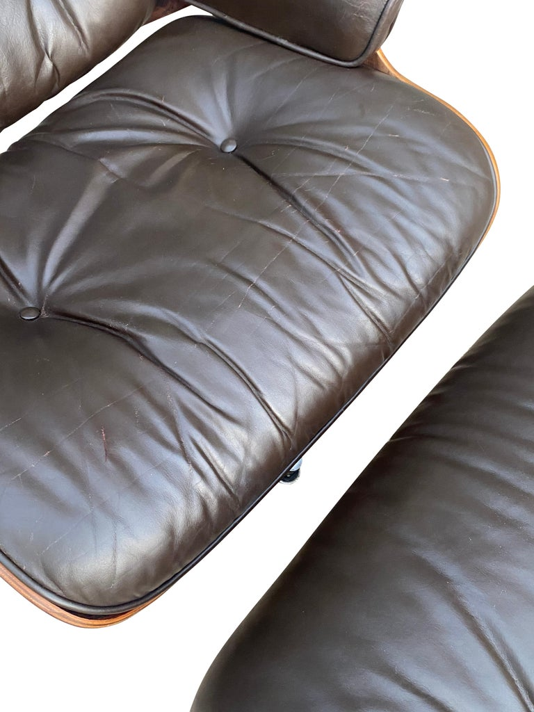 Herman Miller Eames Lounge Chair and Ottoman with Brown Leather For Sale 6