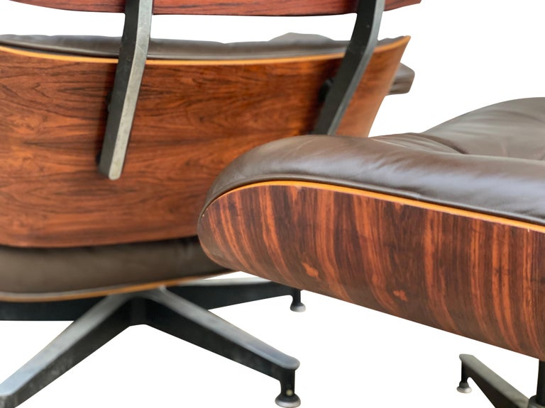 Herman Miller Eames Lounge Chair and Ottoman with Brown Leather For Sale 7