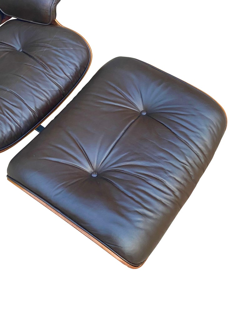 Herman Miller Eames Lounge Chair and Ottoman with Brown Leather For Sale 10