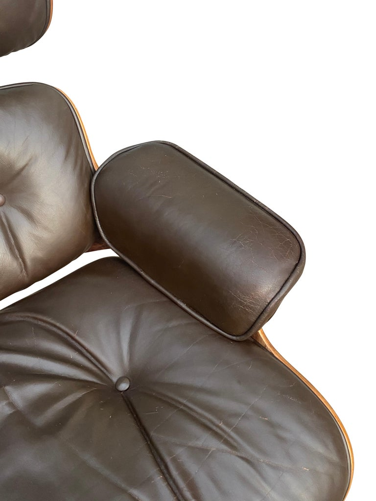 Herman Miller Eames Lounge Chair and Ottoman with Brown Leather For Sale 11