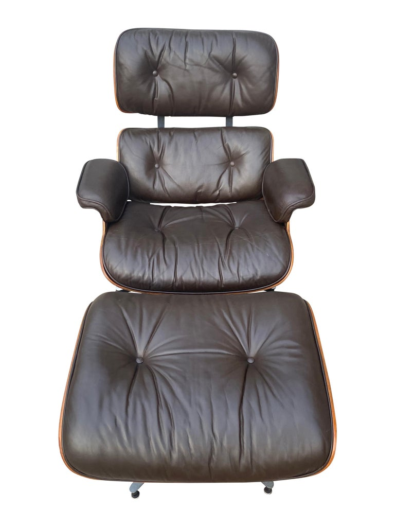 American Herman Miller Eames Lounge Chair and Ottoman with Brown Leather For Sale