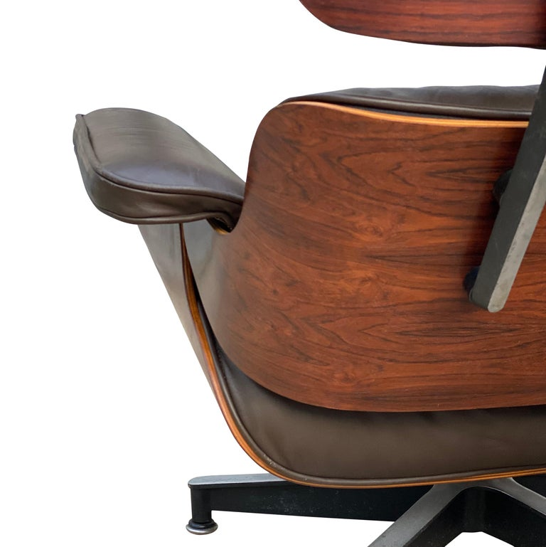 20th Century Herman Miller Eames Lounge Chair and Ottoman with Brown Leather For Sale