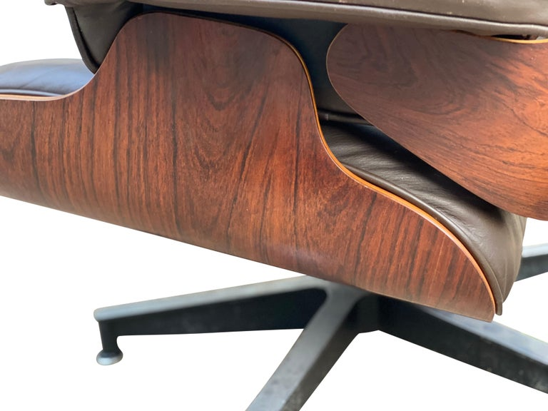 Herman Miller Eames Lounge Chair and Ottoman with Brown Leather For Sale 1