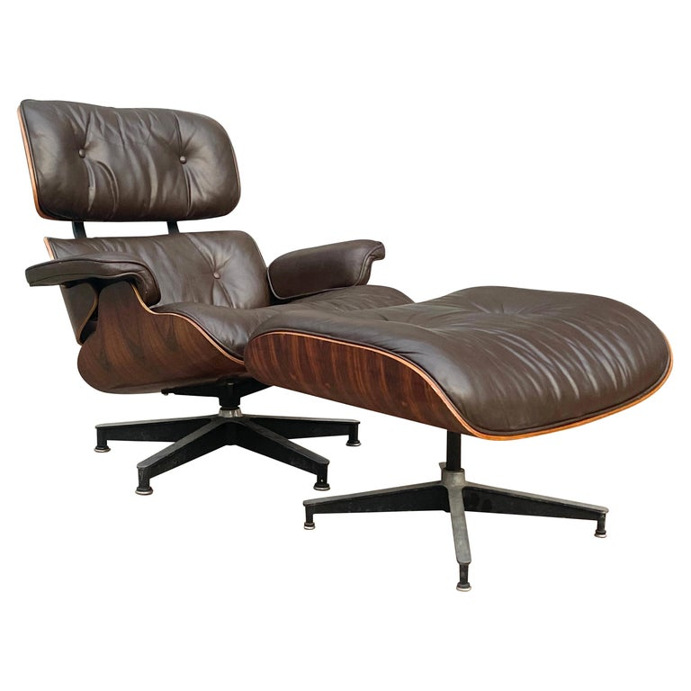 Herman Miller Eames Lounge Chair and Ottoman with Brown Leather For Sale