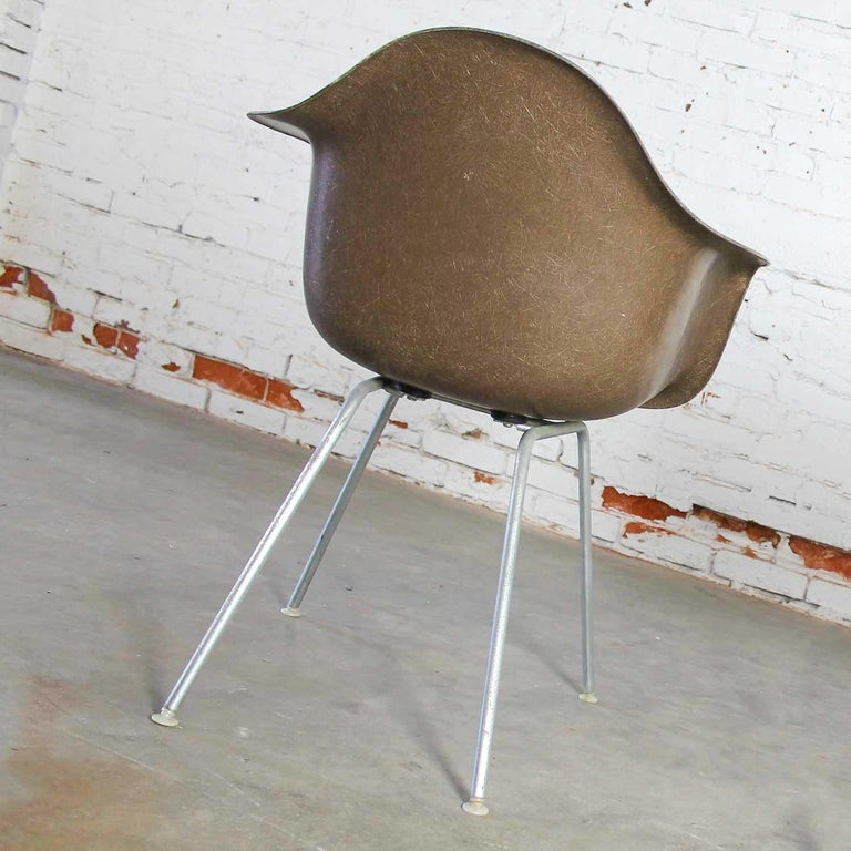 Herman Miller Eames Molded Fiberglass DAX Shell Arm Chair  H Base in Seal Brown For Sale 2