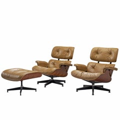 Herman Miller Eames Pair of Lounge Chairs with Ottoman